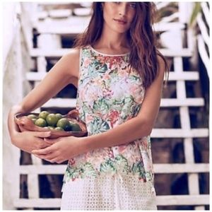 Anthropologie • Inari floral cut out tank top